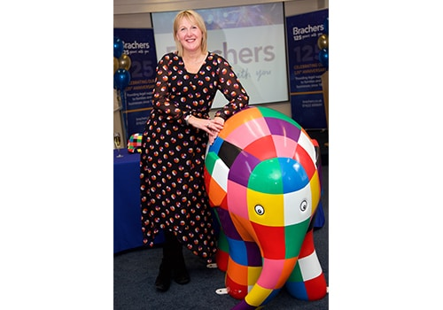 Brachers Joanna Worby and Elmer the Elephant